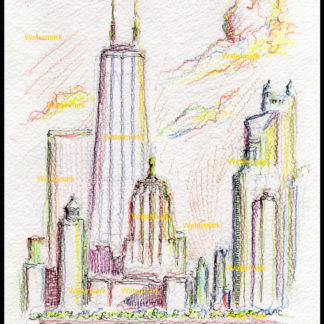 Chicago skyline color pencil drawing of near north side.