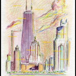 Chicago skyline color pencil & watercolor of near north side.