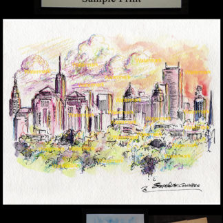 Buffalo skyline watercolor at sunset by Condren.