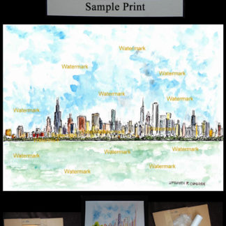 Chicago skyline #427A pen & ink watercolor with prints & scans.