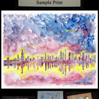 Chicago skyline watercolor of downtown at sunset.