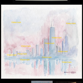 Chicago skyline watercolor of near north side at dusk.