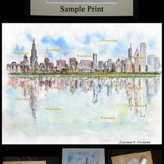 Chicago downtown skyline pen & ink watercolor by Condren.