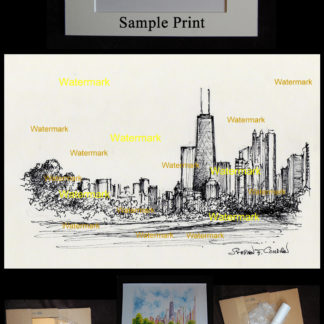 Chicago skyline pen & ink drawing of North Lake Shore Drive.