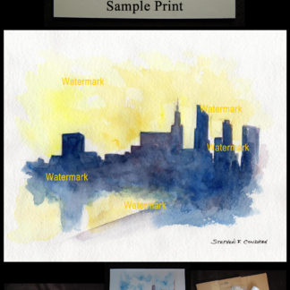 Chicago downtown skyline pen & ink watercolor of at sunset.