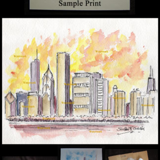 Chicago skyline pen & ink watercolor at sunset on Randolph.