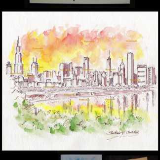 Chicago skyline pen & ink watercolor of downtown at sunset.