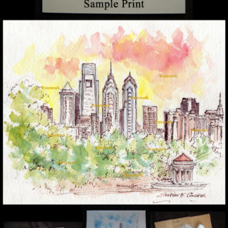 Philadelphia skyline pen & ink watercolor at sunset.