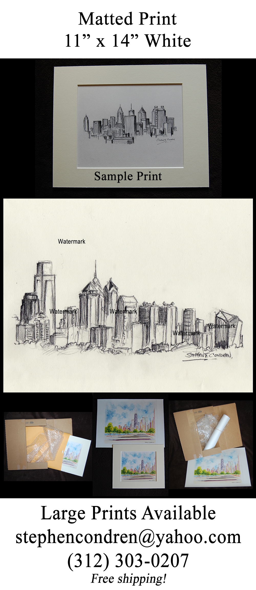 Philadelphia skyline drawing of downtown at fdr park