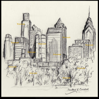 Philadelphia skyline drawing of downtown at FDR Park.