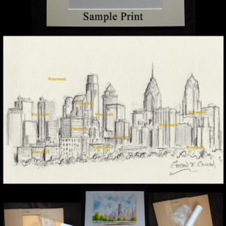 Philadelphia skyline pen & ink of downtown on the Schuylkill River.