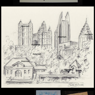 Atlanta skyline pencil drawing of midtown.