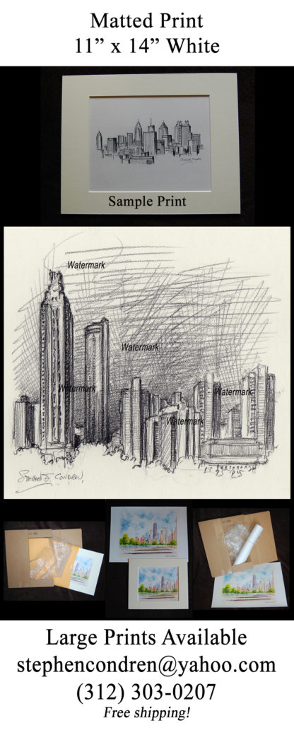 Atlanta skyline pencil drawing of downtown at night.