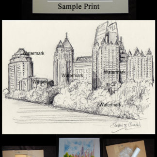 Pencil skyline drawing of midtown Atlanta at Piedmont Park.