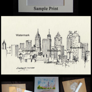 Pen & ink drawing of downtown Atlanta skyline.