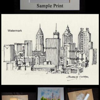Pen & ink drawing of downtown Atlanta skyline.