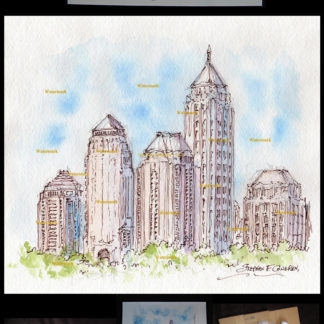 Atlanta midtown skyline pen & ink watercolor