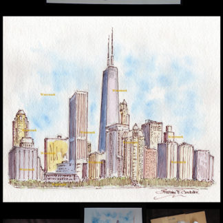 Chicago skyline pen & ink watercolor drawing by Condren.
