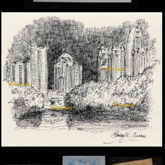 Atlanta skyline pen & ink drawing of midtown at night.