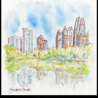 Atlanta midtown skyline pen & ink watercolor.
