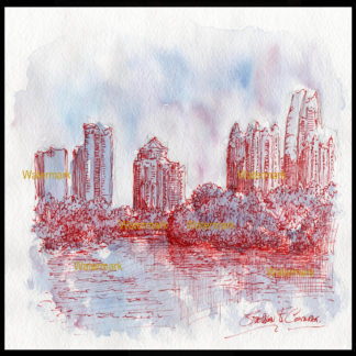 Atlanta skyline pen & ink watercolor at sunset.