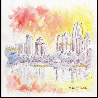 Atlanta midtown skyline pen & ink watercolor at sunset.