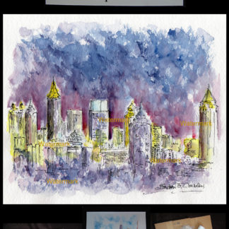 Atlanta downtown skyline pen & ink watercolor at night.