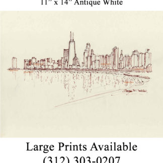 Chicago skyline #869A pen & ink cityscape drawings.