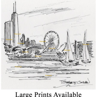 Chicago skyline pen & ink drawing of Navy Pier.