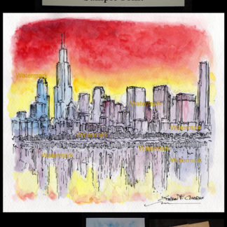 Chicago downtown skyline pen & ink watercolor at sunset.