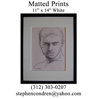 Bo Roberts Pen & Ink Portrait Matted Print