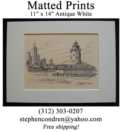 Matted Lighthouse Drawing