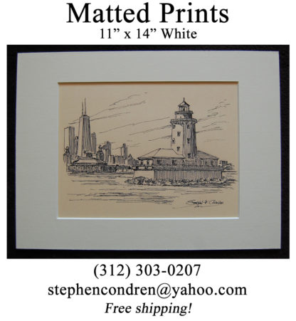 Chicago Harbor Lighthouse Pen & Ink Matted Print.