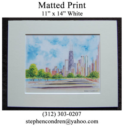 Chicago skyline watercolor white matted print.