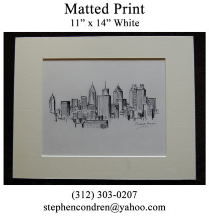 Matted skyline pencil drawing of downtown Atlanta.
