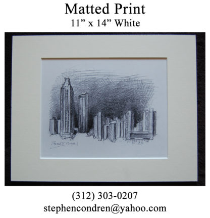 Pencil skyline matted drawing of downtown Atlanta at night.