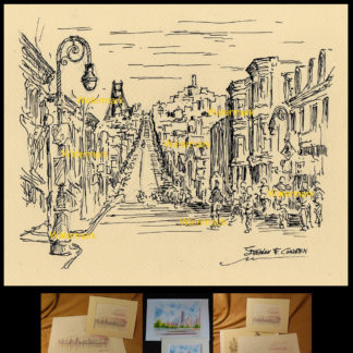 San Francisco pen & ink city scene of Nob Hill by Condren.