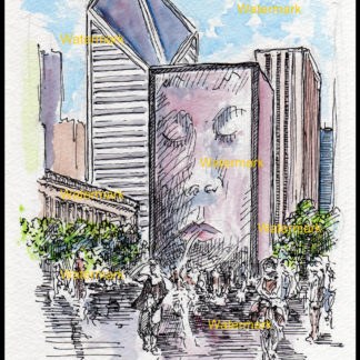 Chicago pen Ink watercolor of Crown Fountain.