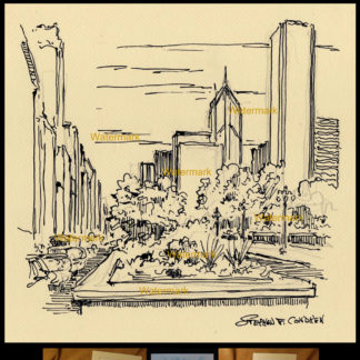 Chicago downtown pen & ink city scene on Michigan Ave.