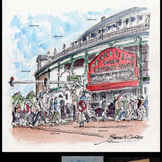 Chicago pen Ink watercolor of fans walking to Wrigley Field.