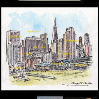 San Francisco skyline pen & ink watercolor on the Wharfs.