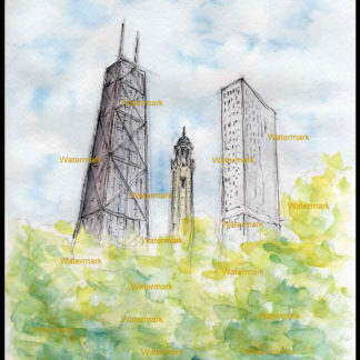 Chicago Water Tower #200A pen & ink watercolor & JPEG scans.