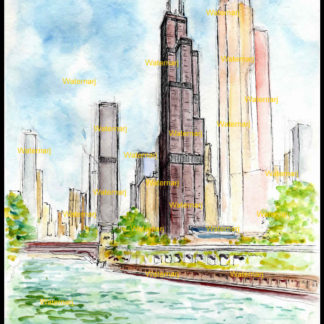 Willis Tower #205A pen & ink watercolor & JPEG scans.