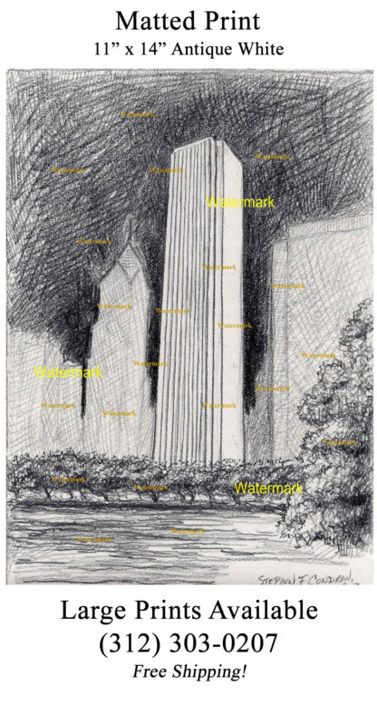 Aon Center #234A night time pencil drawing & JPEG scans.