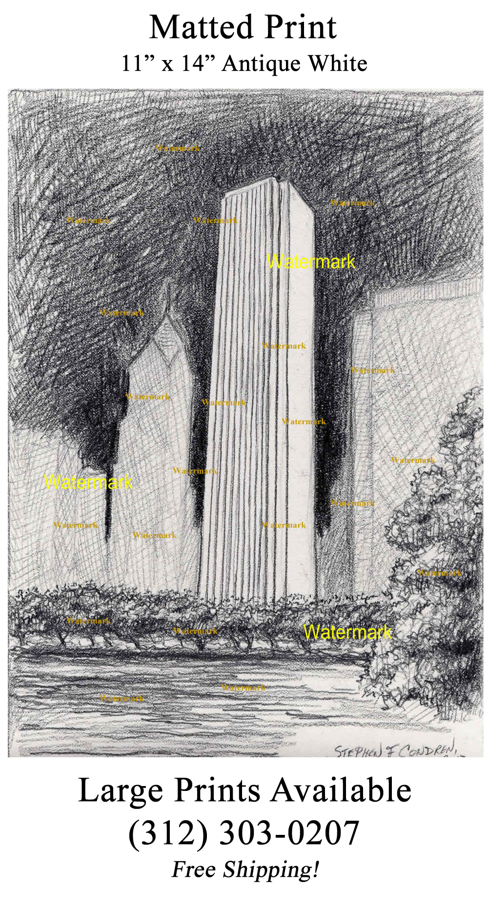 Aon Center Pencil Drawing In Downtown Chicago At Night #234A