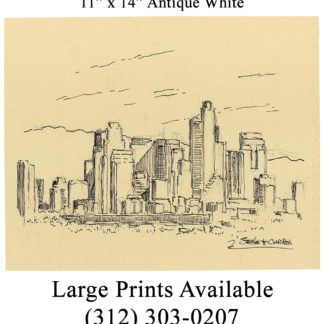 Los Angeles skyline pen & ink drawing of downtown.