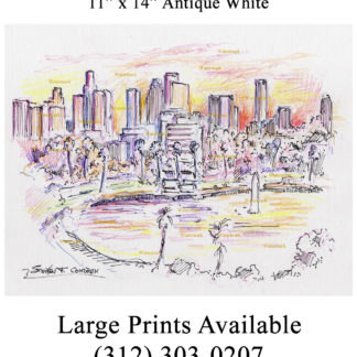 Los Angeles skyline color pencil drawing at sunset.