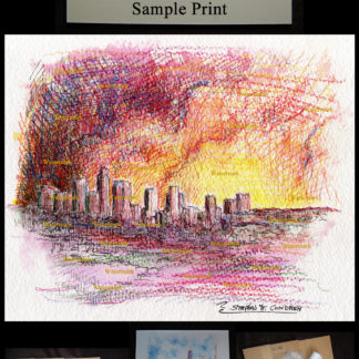 Los Angeles color pencil watercolor skyline at sunset.