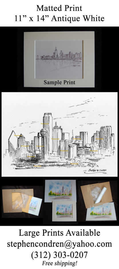 Dallas skyline pen & ink of downtown with Reunion Tower.