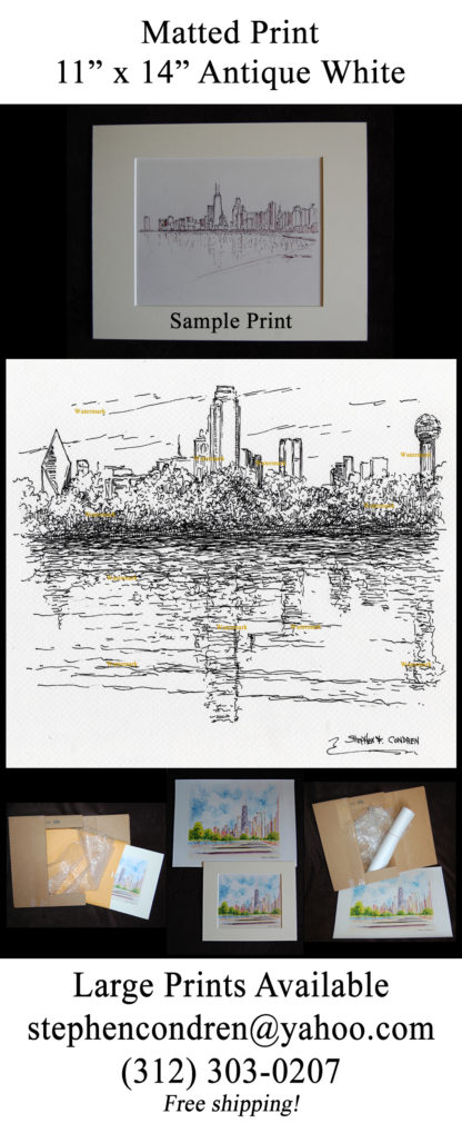 Dallas downtown skyline pen & ink along the Trinity River.